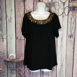 WD.NY Sequined Ring Beaded Black Top